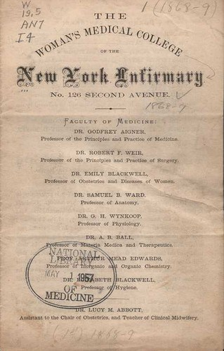The Woman's Medical College of the New York Infirmary. Announcement, 1868-69