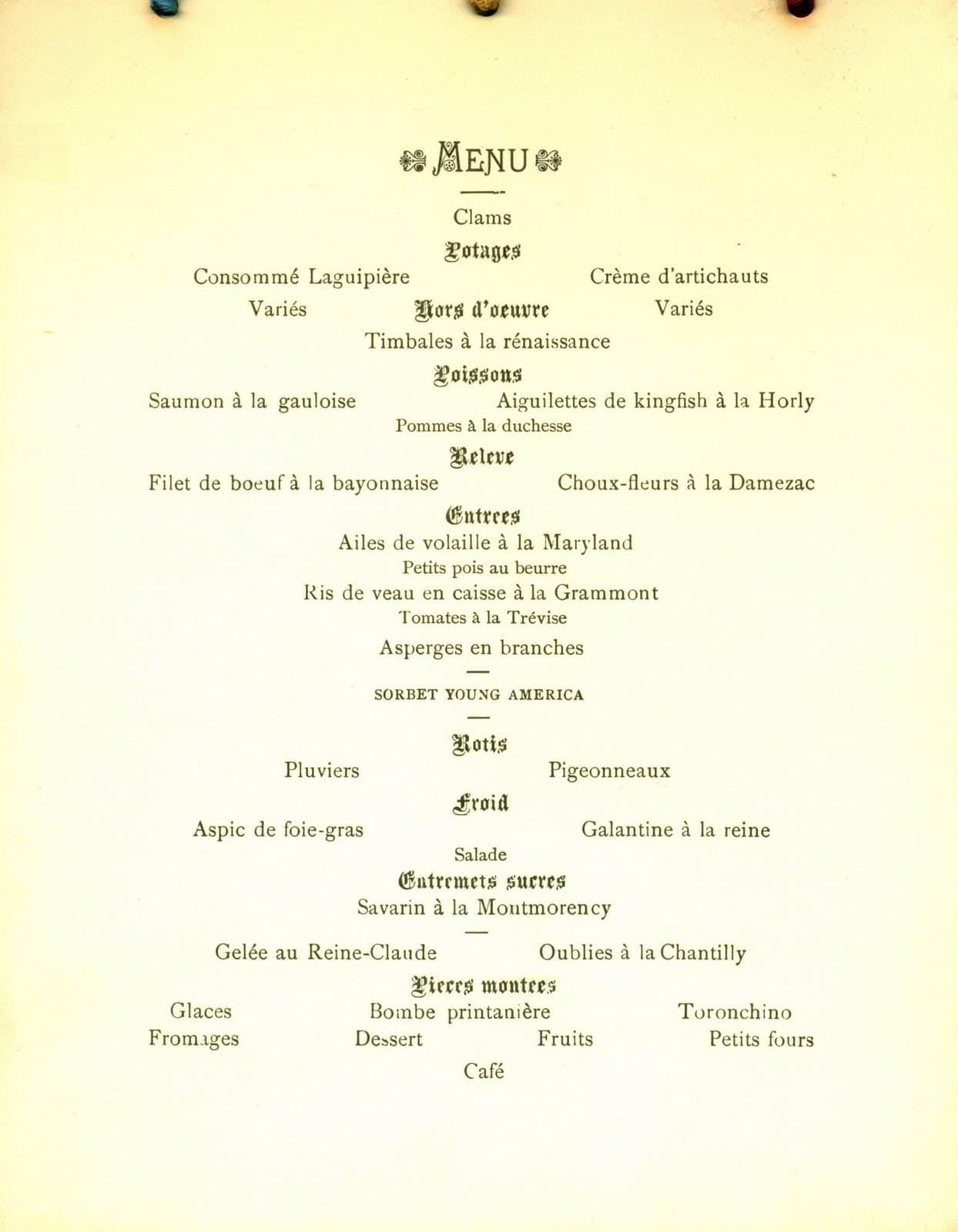 Delmonico's Menu 1885