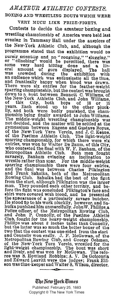 NYT 1883 - Boxing and Prize-fighting