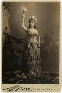 Alice Vanderbilt in her costume as Electric Light at the March 1883 costume ball