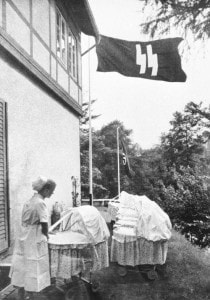 "A Lebensborn birth house in Nazi Germany. Created with intention of raising the birth rate of ""Aryan"" children from extramarital relations of ""racially pure and healthy"" parents."