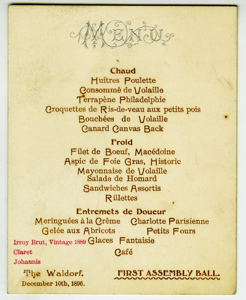 A menu from a high-society celebration (via mcny.org)