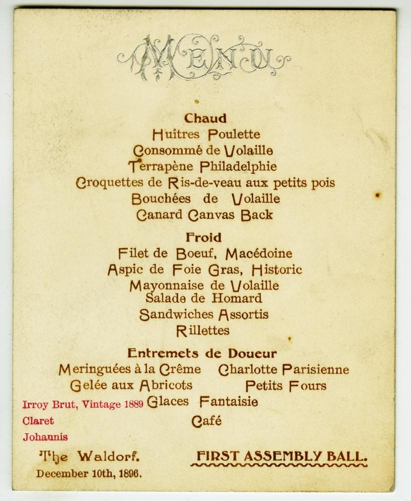 A menu from a high-society celebration (via mcny.org)