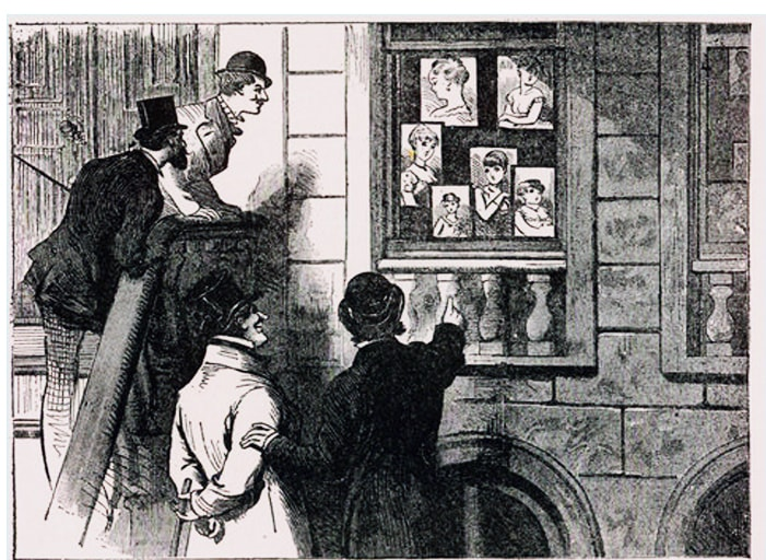 """A drawing titled """"The Genius of Advertising"""" from an 1880 issue of the National Police Gazette shows men outside a brothel gazing at pictures of some of the attractions awaiting them inside"""